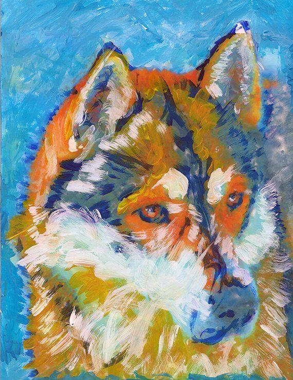 Siberian Husky dog painting, Gift for Husky owner, Dog portrait, Husky dog picture, colorful husky painting wall art print… #dogs #etsy #art