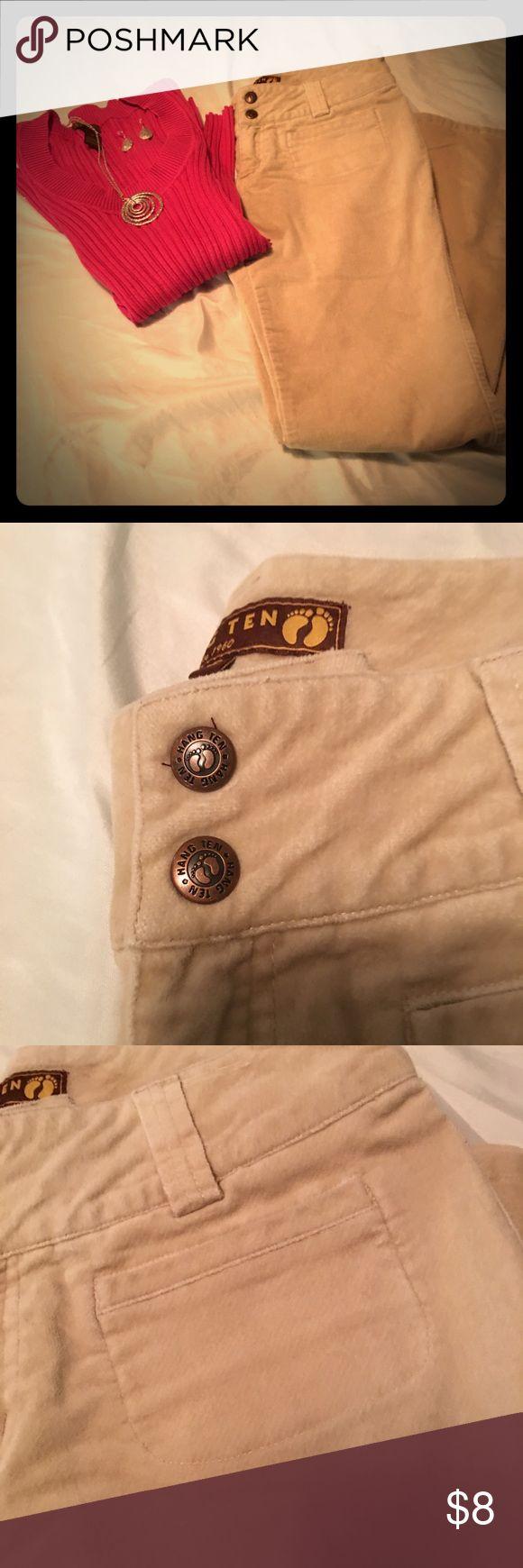 Vintage Hang Ten Jeans Size 5 Vintage Hang Ten Beige/ Buff Velour jeans super soft amazing fit wide leg size 5 Hang Ten Jeans Flare & Wide Leg