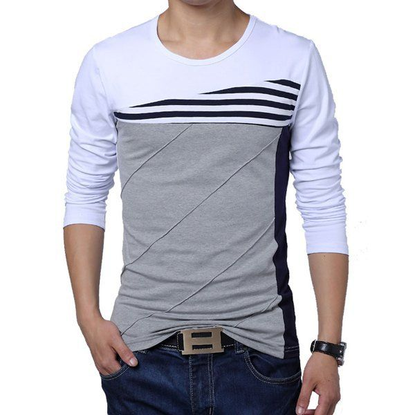 Casual Style Round Neck Stripes Print Long Sleeves Men's T-Shirt - Kelandris Kollections $23+5