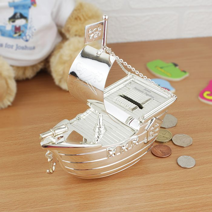 Personalised Silver Pirate Ship Money Box  http://justtherightgift.co.uk/personalised-silver-pirate-ship-money-box