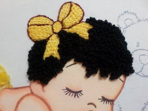 Hair Embroidery Baby - YouTube - looks like a type of bullion stitch