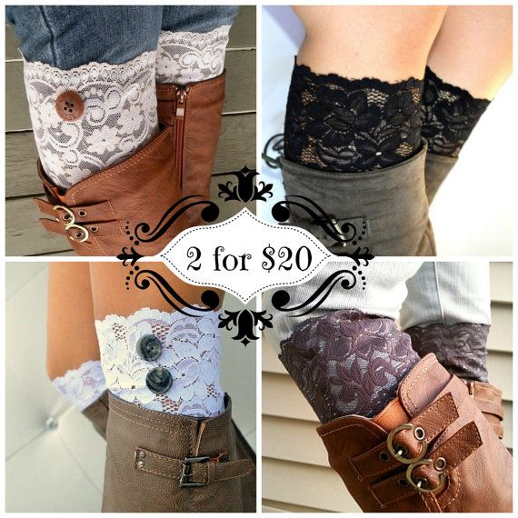 Lace boot cuff Accessories, black floral stretch lace, 2 for 20 deal
