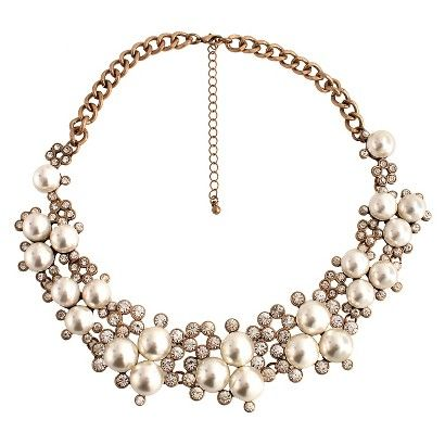 Short Necklace with Simulated Pearls - Gold/Pearl (16.5