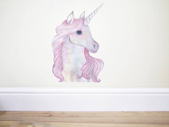 ***Listing Includes One Unicorn Wall Decal*** This Watercolour Pink Unicorn  Would Be Perfect For Any Childs Bedroom, Nursery Or Playroom.