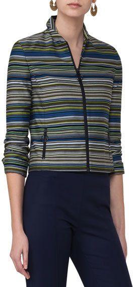 Akris Punto Paracas-Print Cropped Jacket, Multi