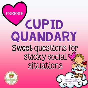 Valentine's Day can be fraught with social peril....well at least, lots of sticky situations when it comes to thoughts and feelings!  This packet helps your late elementary to middle school students problem solve:thoughts, feelings, timing (right person, place or time), take another person's perspective, predictable/unpredictable responses and more!This freebie includes:16 social questions related to Valentine's DayExtension activity ideasa blank template to add your own questionsCupid…