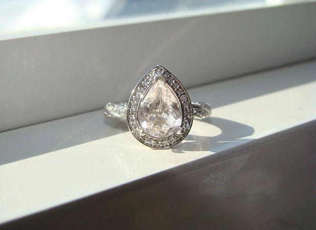 Pear Shaped Halo Morganite Twist Rope Diamond by PenelliBelle, $1,599.00