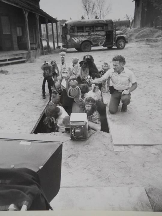 Behind the scenes of The Muppet Movie-This is great. This is the scene where they're in a ghost town and the villian has finally cornered them and Animal takes a super-growth pill that Dr. Honeydew formulated, growing taller than a house and scaring the heck out of the villian. So funny! Good memories!