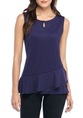 The Limited Women's Sleeveless Bead Neck Curved Top - Astral Aura - Xs