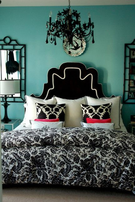 Tiffany blue bedroomWall Colors, Beds, Turquoise Bedrooms, Black And White, Tiffany Blue, Black White, Bedrooms Decor, Bedrooms Ideas, Bedroom Ideas