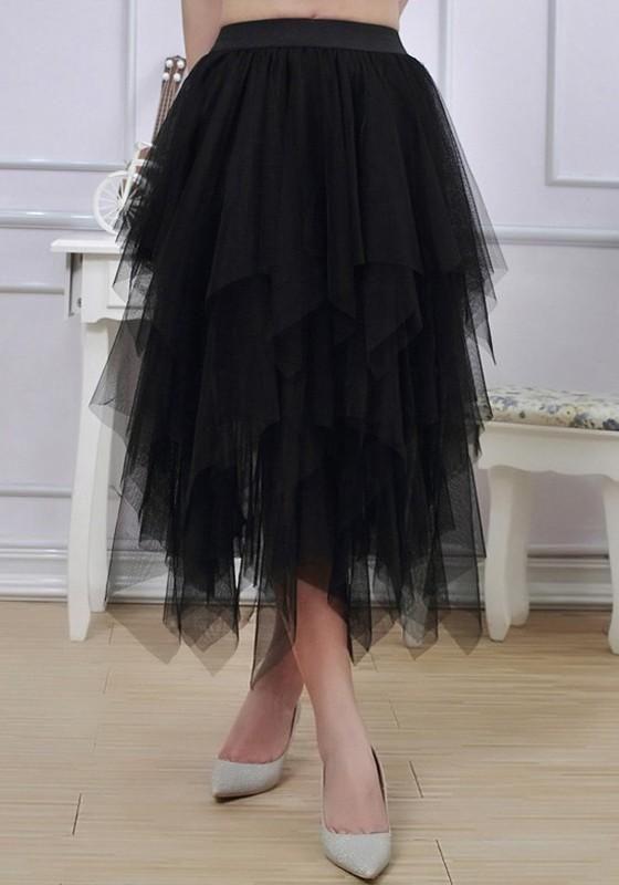 ba585dfc05 Black Patchwork Tulle Tutu Cascading Ruffle Grenadine Trendy Flowy  Ballerina Skirt