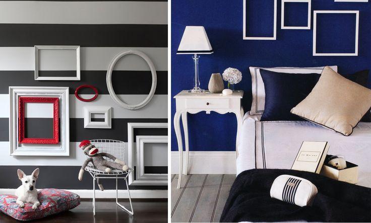 decorar las paredes con marcos vacíos Los puedes pintar a juego de la pared o en un color que resalte y se conviertan en protagonistas indiscutibles de la decoración.
