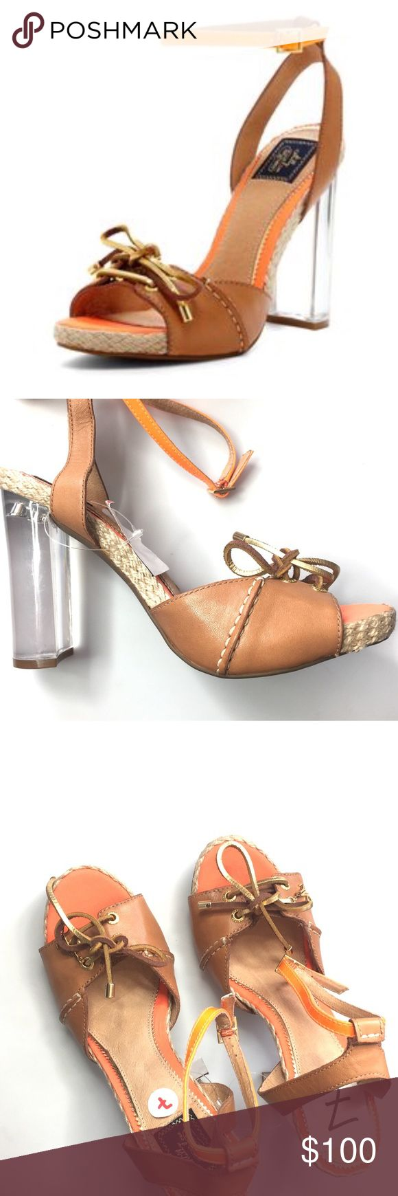 Sperry & Milly Collab - Orange & Tan Heels Gorgeous orange and tan heels by Sperry/ Milly collaboration. Heels are clear. Purchased from the costume department at Warner Brothers for Pretty Little Liars. These were alternatives and ended up never being used. There are a couple of scuffs on the back of the heel as shown in the photos. Costume department put Size sticker inside of shoe. Still brand new with tags. #9021715 Milly Shoes Heels