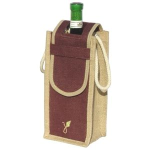 Jute Wine Bag - Single Bottle with flap - Grassroots Environmental Products