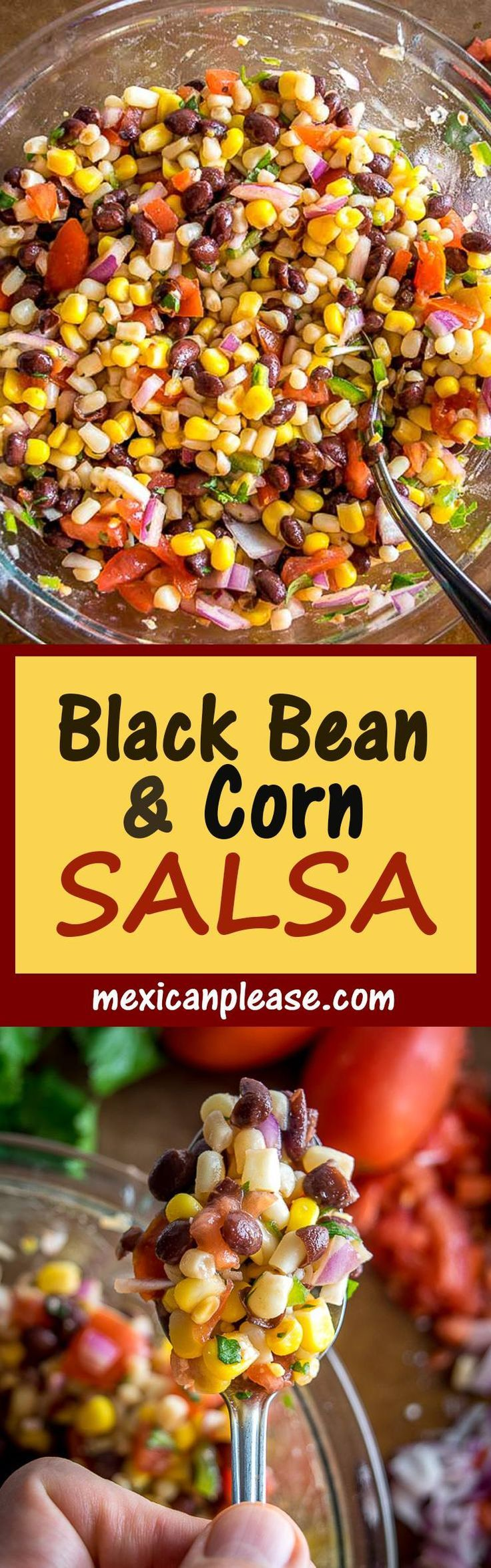 This wildly versatile Black Bean and Corn Salsa will have you dreaming up all sorts of ways to use it:  tacos, salads, even wraps!  I think it tastes best when the lime flavor is at the forefront so feel free to add another squeeze!  #salsa mexicanplease.com