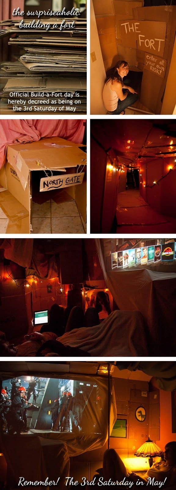 Building an adult-sized cardboard fort!      Be sure to build yours the 3rd Saturday in May!