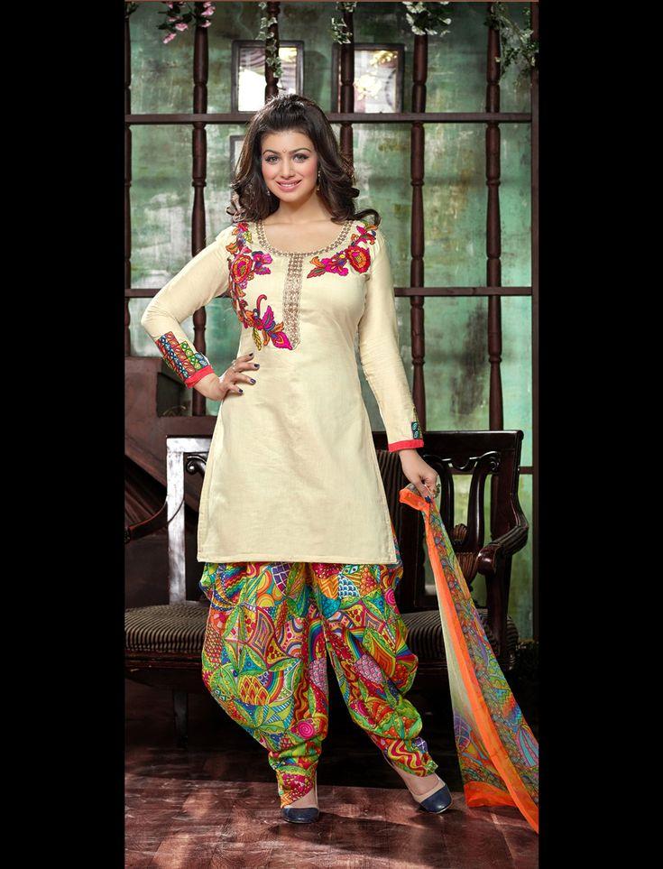 Ayesha Takia Cream Glace Cotton Patiala Suit 61280
