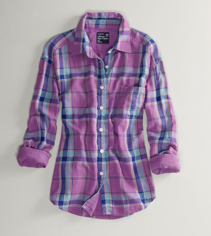 American Eagle Purple/Blue Flannel