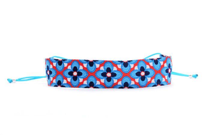 WWW.SCHOSCHON.DE Verspieltes Textil Armband, Blau-Orange http://www.schoschon.de/deta…/index/sArticle/347/sCategory/9