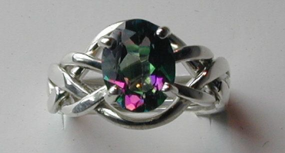 Ladies Mystic Topaz 4 Band Puzzle Ring by ArcanumDesigns on Etsy