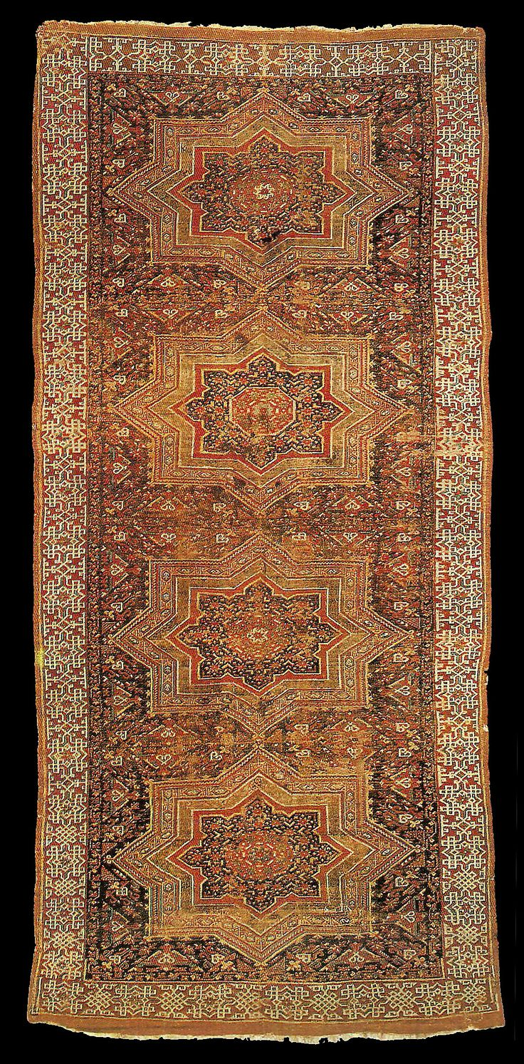 """Early Anatolian """"Cross Star Tile"""" Turkish carpet, 13-14th centuries. private collection, 228x543cm"""