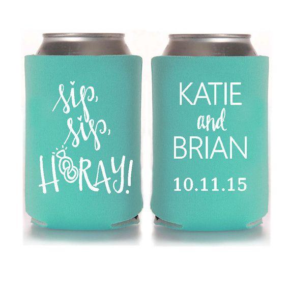 personalized wedding koozies sip sip hooray wedding favors for