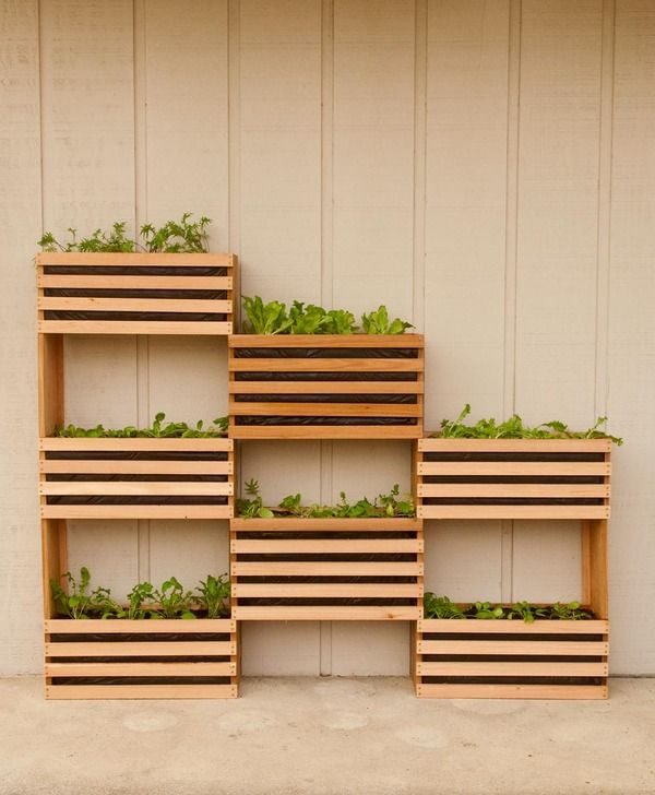 How to: Make a Modern, Space-Saving Vertical Vegetable Garden     This modern, modular garden project works well in any space. Because it ...