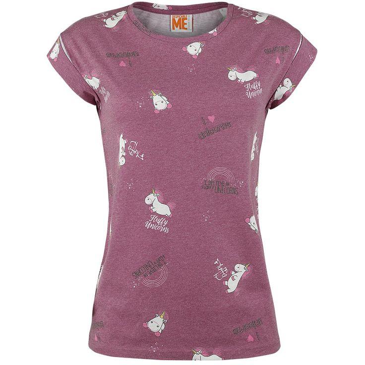 """- all-over print - sublimatieprint - omgeslagen mouwzomen - ronde halslijn - exclusief verkrijgbaar bij EMP  Dit """"Unicorn"""" girls shirt van de Minions is alleen verkrijgbaar bij EMP! Als je ook een liefhebster bent van de pluizige eenhoorn van Agnes, mag deze niet ontbreken aan je kledingkast. Het girls shirt is voorzien van een all-over print van de eenhoorn van Agnes met schattige teksten zoals """"I Love Unicorns"""" en """"I Believe in Fluffy Unicorns"""". Aantrekken en k..."""