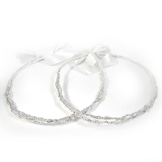 Wedding crowns coated with silver 999°. They were specially processed to remain shiny and last forever. By Shine4ever.gr