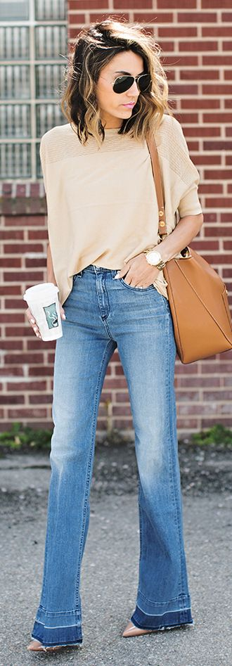 Hello Fashion Beige Pointy Heels Beige Top Flare Denim Fall Inspo
