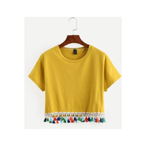 SheIn(sheinside) Yellow Tassel Trimmed Crop T-shirt (125 EGP) ❤ liked on Polyvore featuring tops, t-shirts, yellow, vintage tees, summer crop tops, embellished crop top, yellow t shirt and summer t shirts
