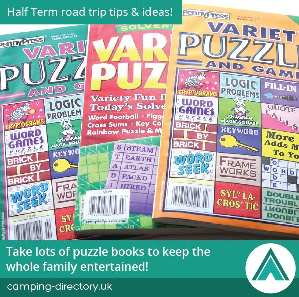 Take lots of puzzle books to keep the whole family entertained! Half Term. Road Trip. Camping Tip. Holiday. Travel. UK. Ireland.