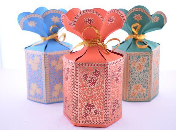 Bomboniera regalo bomboniera con fiore Top, contenitore di bomboniera di nozze, regalo di festa, Indian Wedding Favor, Mehndi, scatola regalo Ramadan, Eid Gift Box