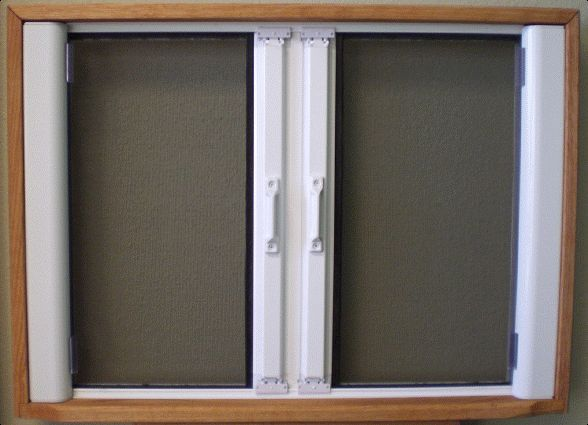 RollAway Double French Door Retractable Screen Retractable Screen for the French Doors and the Front Door and Possibly the Side Mud Room Door.  Order through Marvin, don't know the brand.  This is just an example.