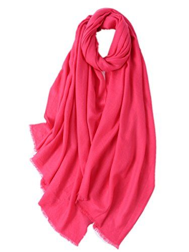 c567eeb0c8585 Prettystern - Damen XL size lang voluminös 100% Wolle einfarbig Twill  pashmina stola kurze Fransen