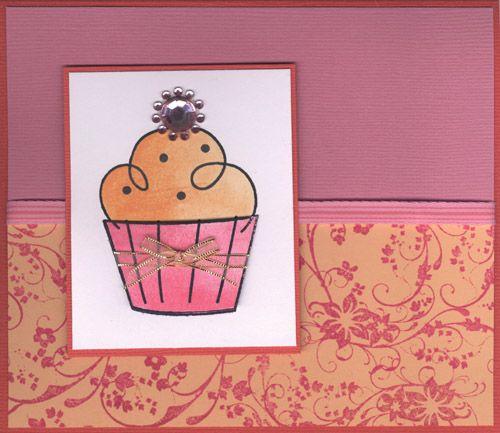Stamp-it Australia: 4027E Cup Cake, 3969E Flower Corner - Card by Susan