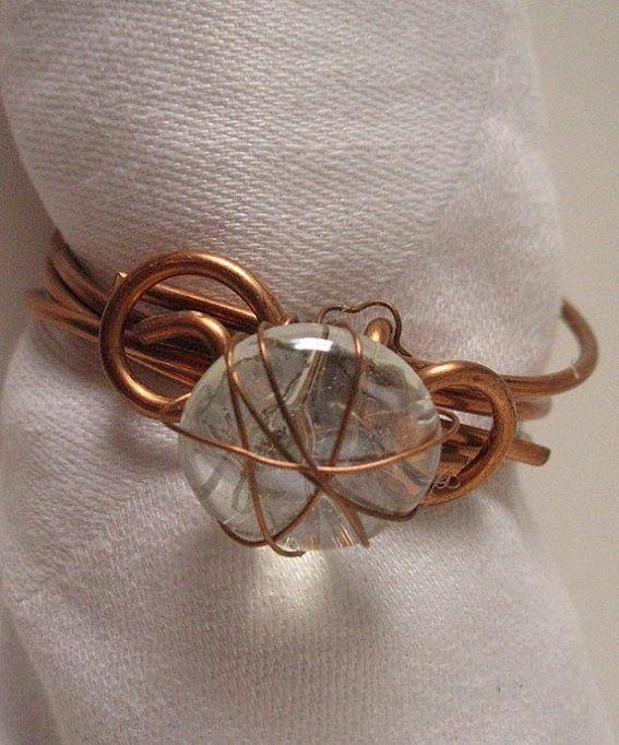 Custom Made Elegant Napkin Rings Table Setting Ideas Wire Wrap Copper