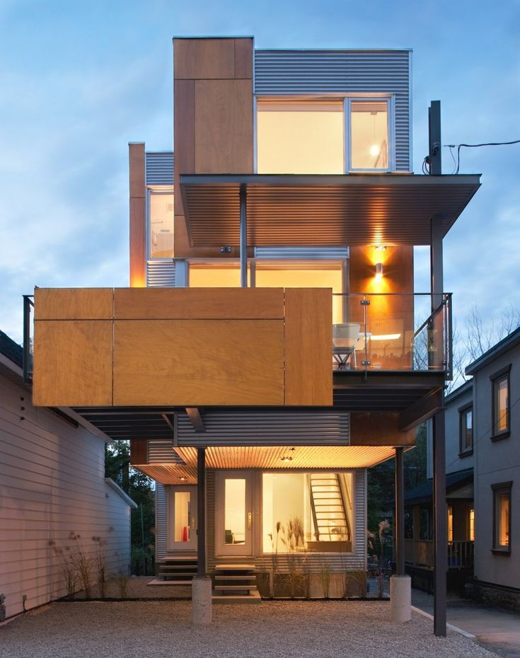 Front to Back Infill semi-detached house in Ottawa, Canada, by Colizza  Bruni Architecture. medley of materials glass metal siding plywood, small  vo