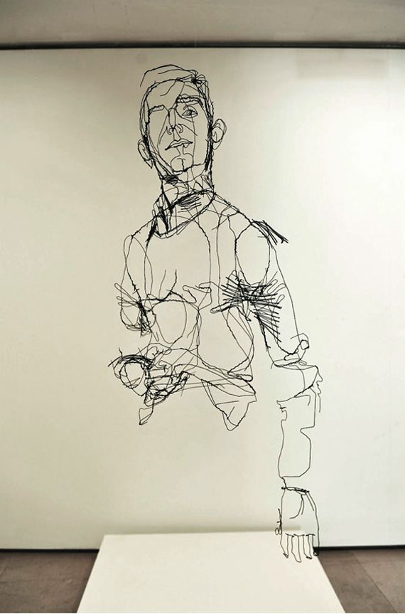 """""""David Oliveira"""", wire, sculpture, """"continuous line drawing"""" #art #drawing"""