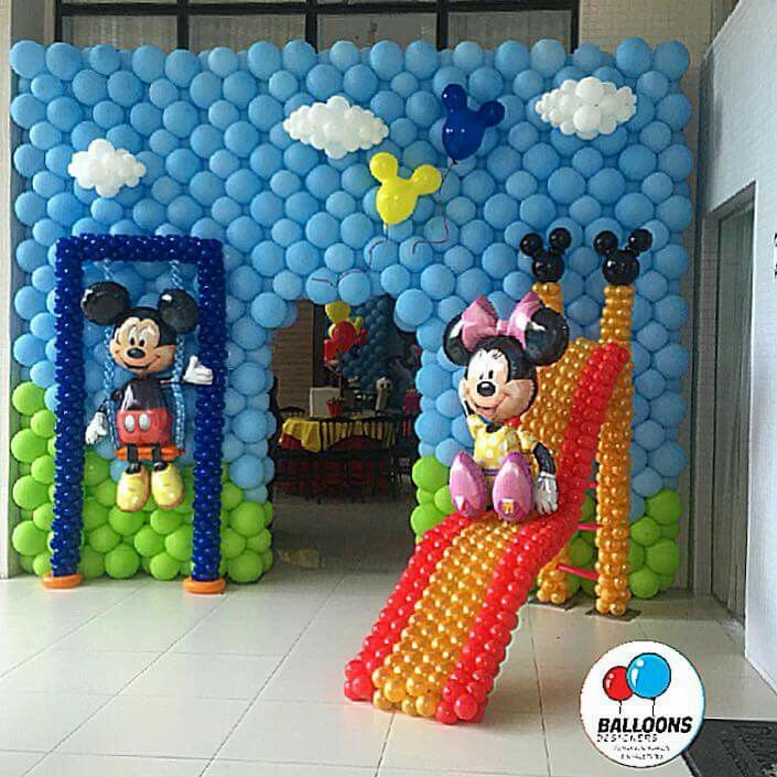 Minnie and Mickey Mouse playground wall