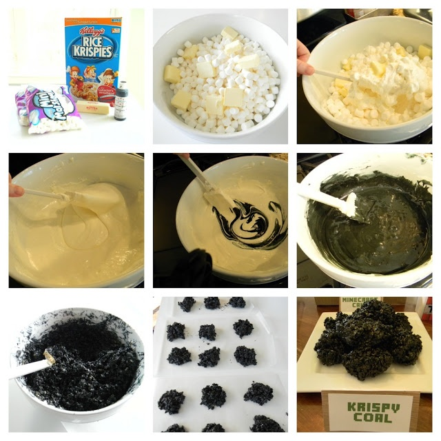 Krispy Coal Minecraft party- Add Wilton BLACK paste color to a bag of melted marshmellows, before adding the crisp rice cereal