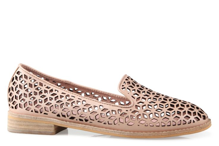 Shoe Connection - Django & Juliette - Aduki geometric patterned pale pink loafer. $179.99 https://www.shoeconnection.co.nz/womens/shoes/flats/django-juliette-aduki-punched-leather-loafer?c=Pale%20Pink