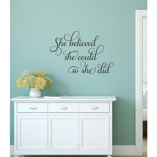 she believed she could wall decal girl inspirational decal teen girl 19