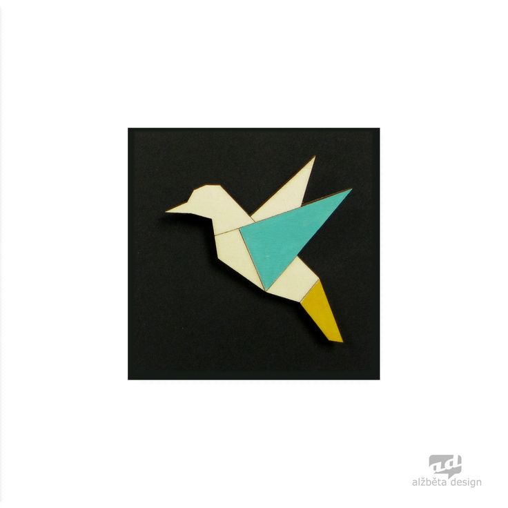 Bird - plywood brooch