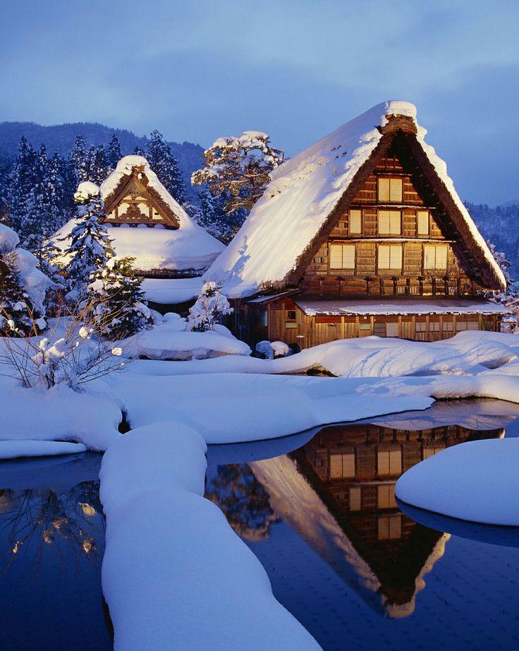 Snow in traditional Japanese houses, Shirakawa, Gifu, Japan