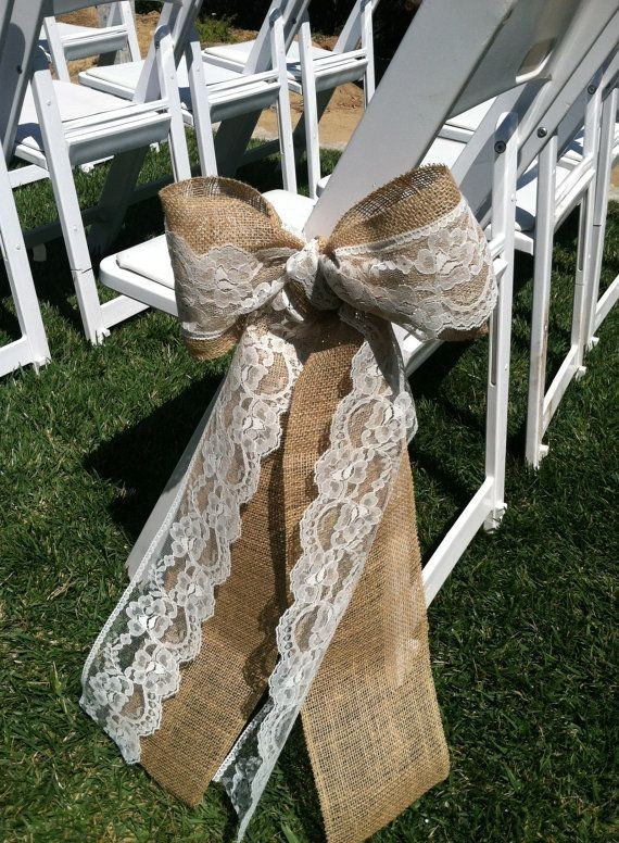Burlap and Lace Wedding Ceremony Bow  Aisle Decorations by dianne