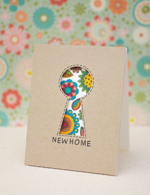 Brilliant idea - keyhole for New Home card ✿ Join 1,800 others & follow the Cards and paper crafts board. Visit GrannyEnchanted.Com for thousands of digital scrapbook freebies. ⊱✿⊰