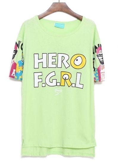 Green Short Sleeve HERO FGRL Print T-Shirt pictures