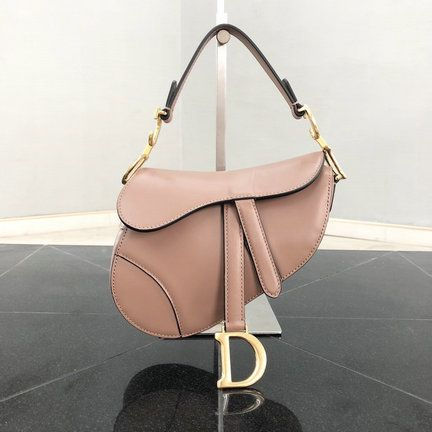 3c681a7032a2 2018 Dior Mini Saddle Bag in Pink Calfskin Leather