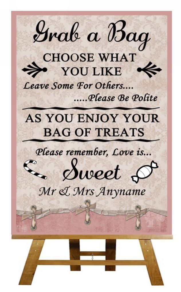 A4 Pink Shabby Chic Vintage Candy Buffet Sweet Cart Poem Wedding Sign Poster. Love the wording...maybe for the cookie bar :)